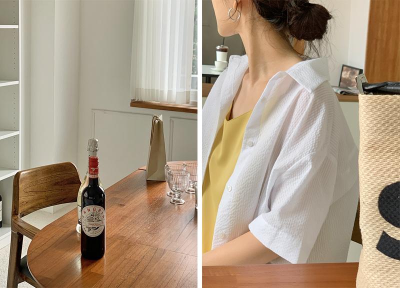 seersucker striped short sleeve shirt