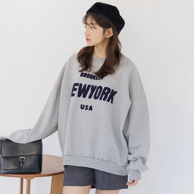 Big size 66-120 New York Boxy Fleece-lined Sweatshirt