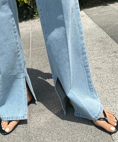 side slit long wide jeans