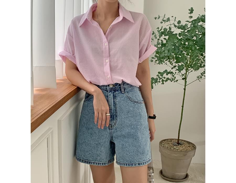 seersucker striped short sleeve shirt 襯衫