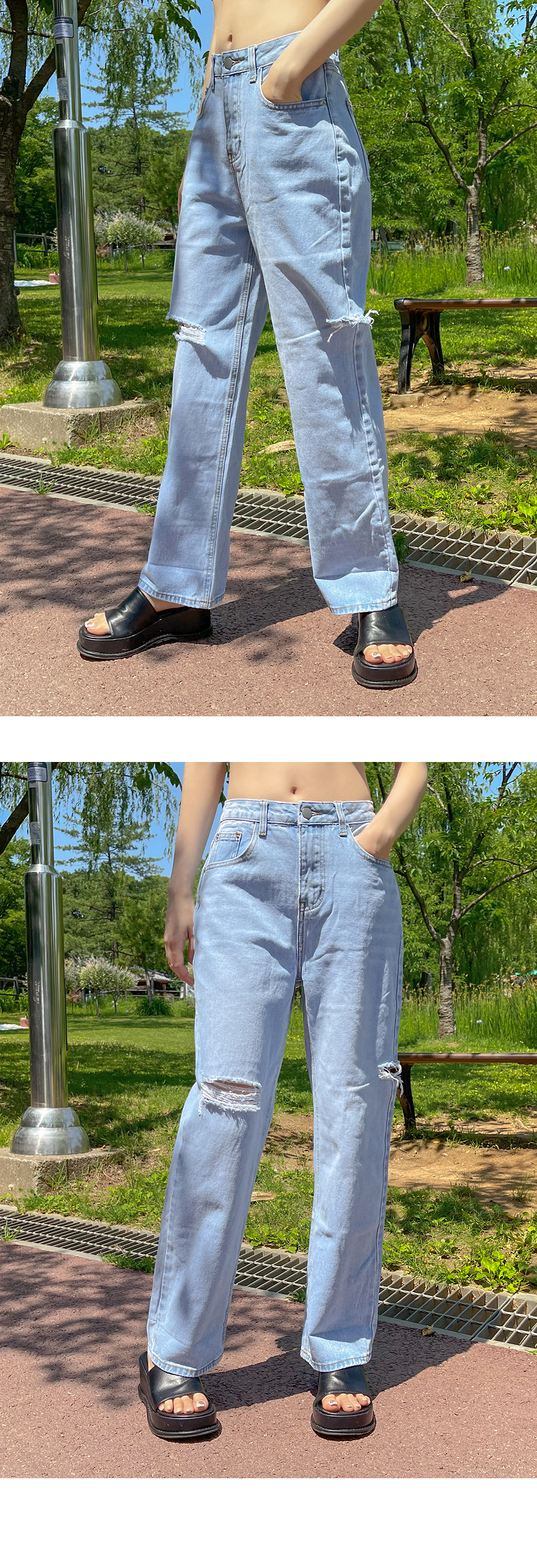 Miron Light Light Blue Cut Wide Denim Pants