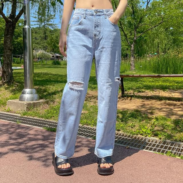 Miron Light Light Blue Cut Wide Denim Pants 牛仔褲