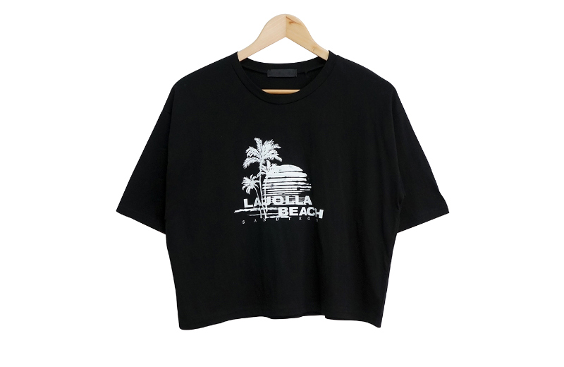 palm tree lettering cropped short sleeve tee