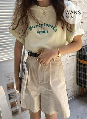 tt4958 Barcel Lettering Short Sleeve T-shirt