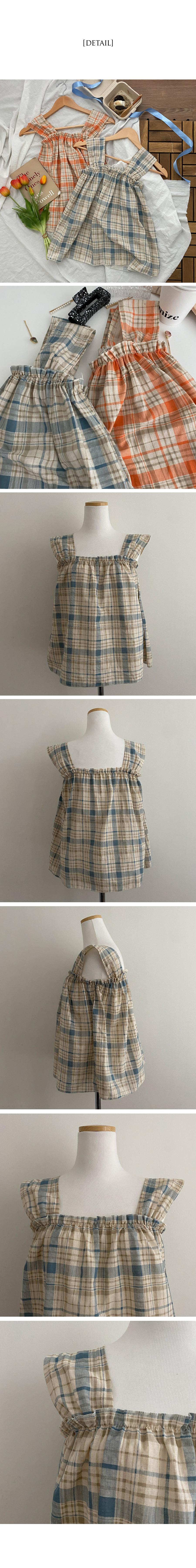 churro check sleeveless blouse