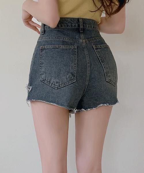 Plastic Frayed Split Uncut Hem Cut Denim Short Pants Shorts
