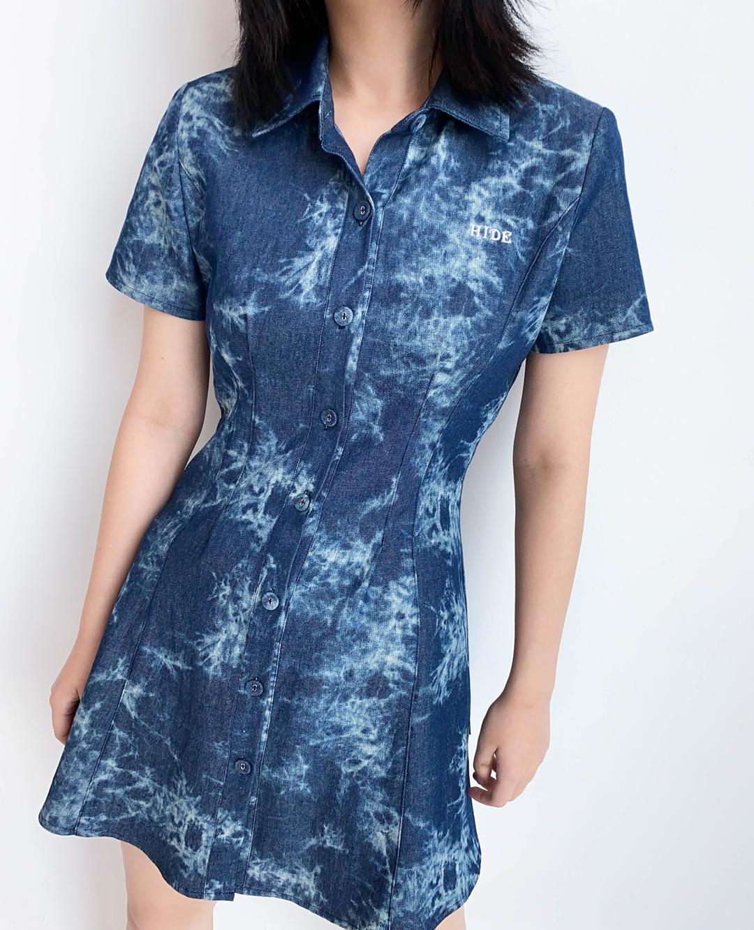 HIDEBlue Tie-Dye Button-Front Dress