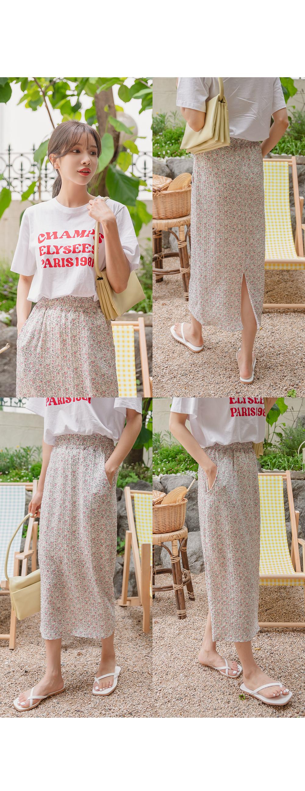 Fallin Flower Banding Long Skirt