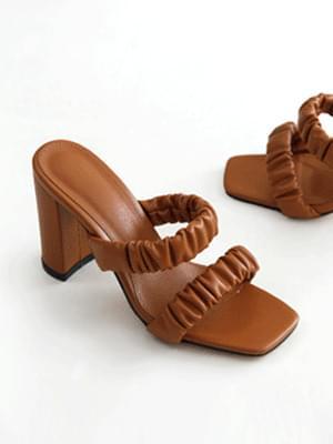 shy shirring mule slippers 9 cm