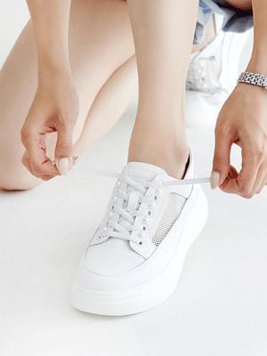New Season Leather Whole Heel Sneakers 4cm