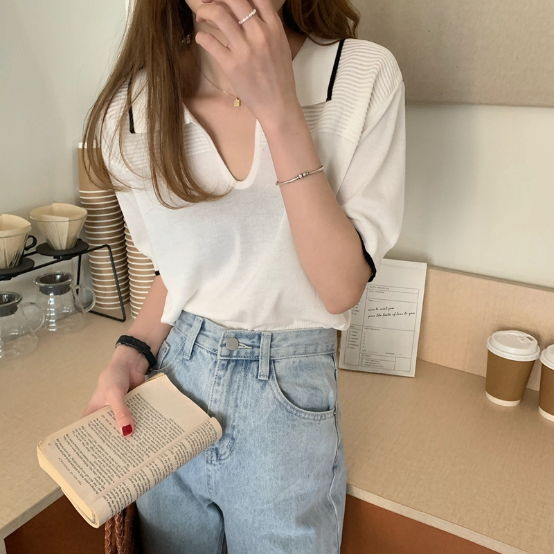kn4942 vito collar short sleeve knitwear