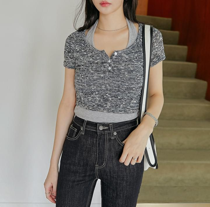 Cropped Heathered Knit Top