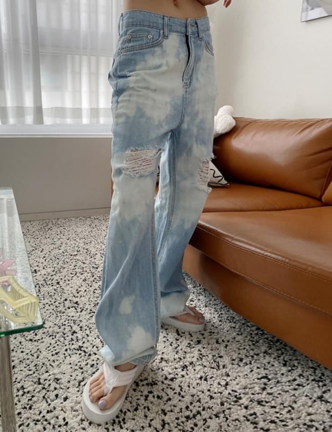 Cloud Damage Denim Pants