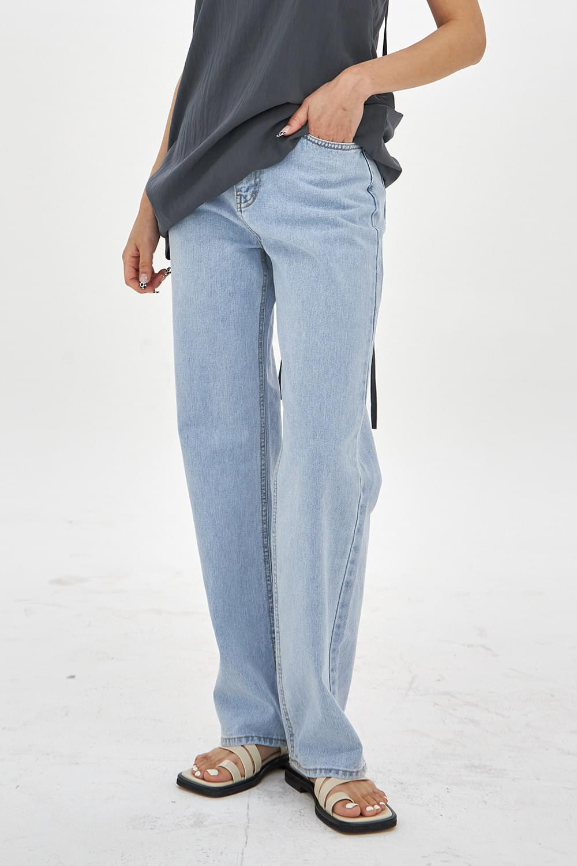 Washing wide no-span denim Pants