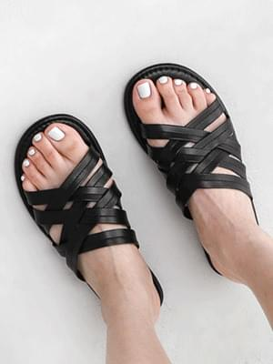 Stitched Upper Cage Strap Slippers 11017