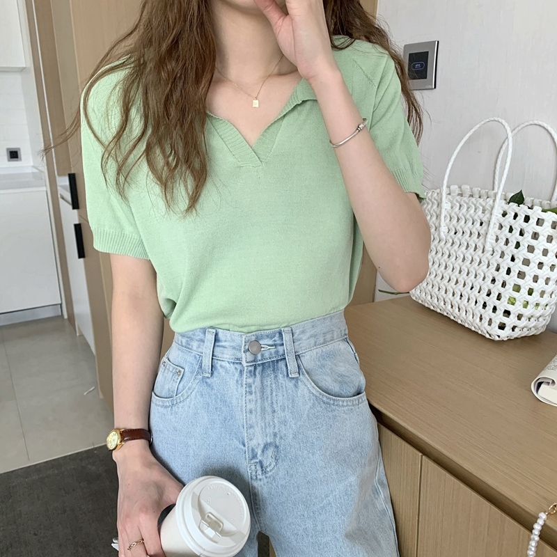 kn4896 Robbins Collar Short Sleeve Knitwear