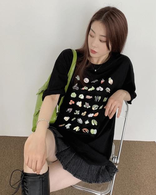 Bijo Vegetable Overfit Print Short Sleeve T-shirt