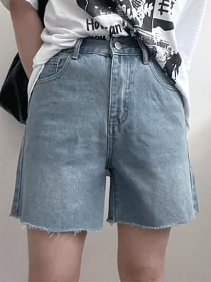 Cut Denim 3 Bulb High Short Pants