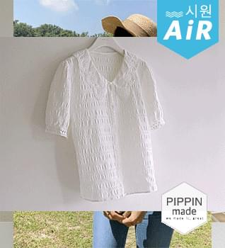 Wrinkle Free Lace Collar Blouse #49083