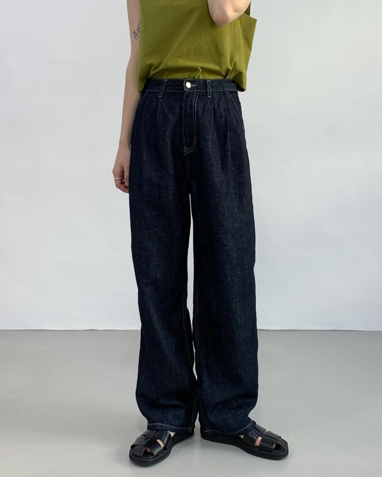 Pintuck Linen Raw Long Wide Pants