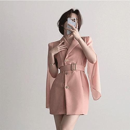 Gorgeous Chiffon Belt Collar Jacket Cape Dress 3color