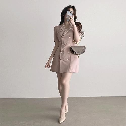 Straight Right Shoulder Slim Spandex Double Button Jacket Dress 2color