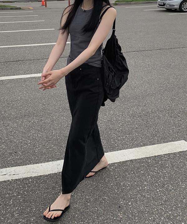 black cotton slit skirt