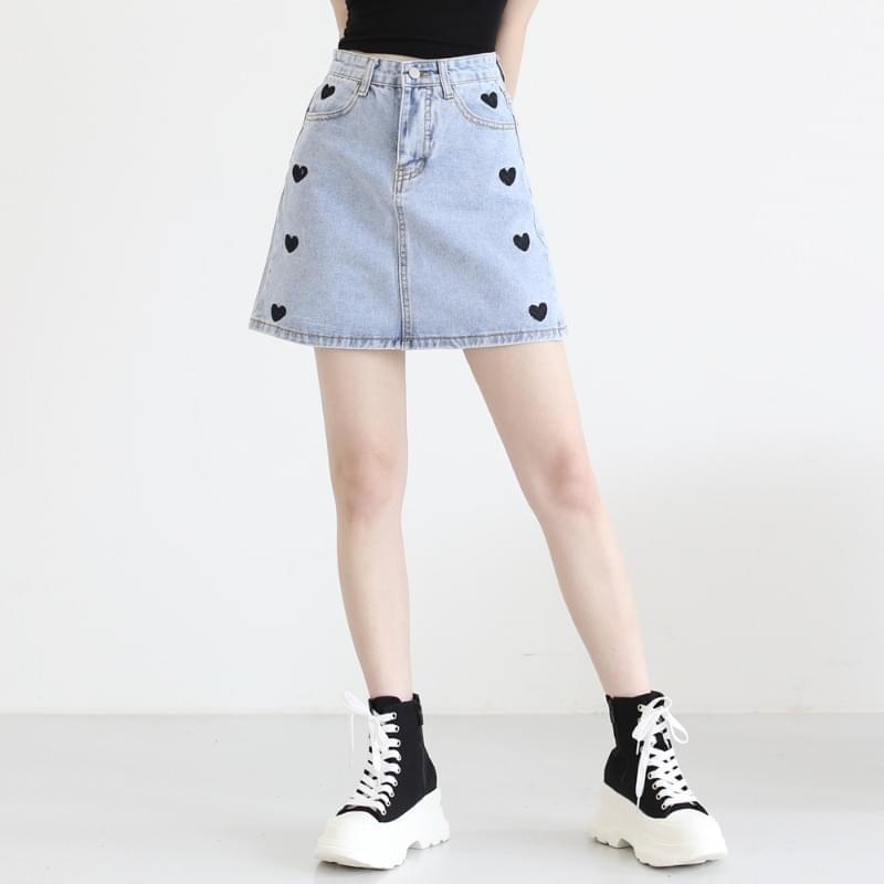 That's Heart Denim Mini Skirt