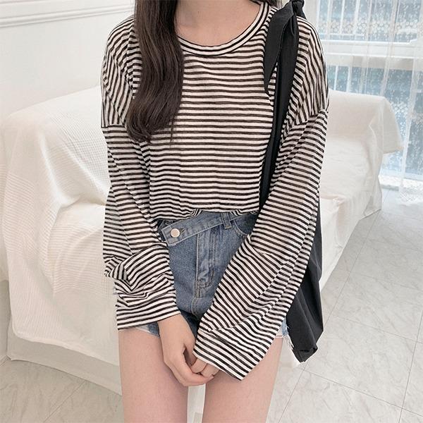Whituru Boxy Striped Long Sleeve T-shirt