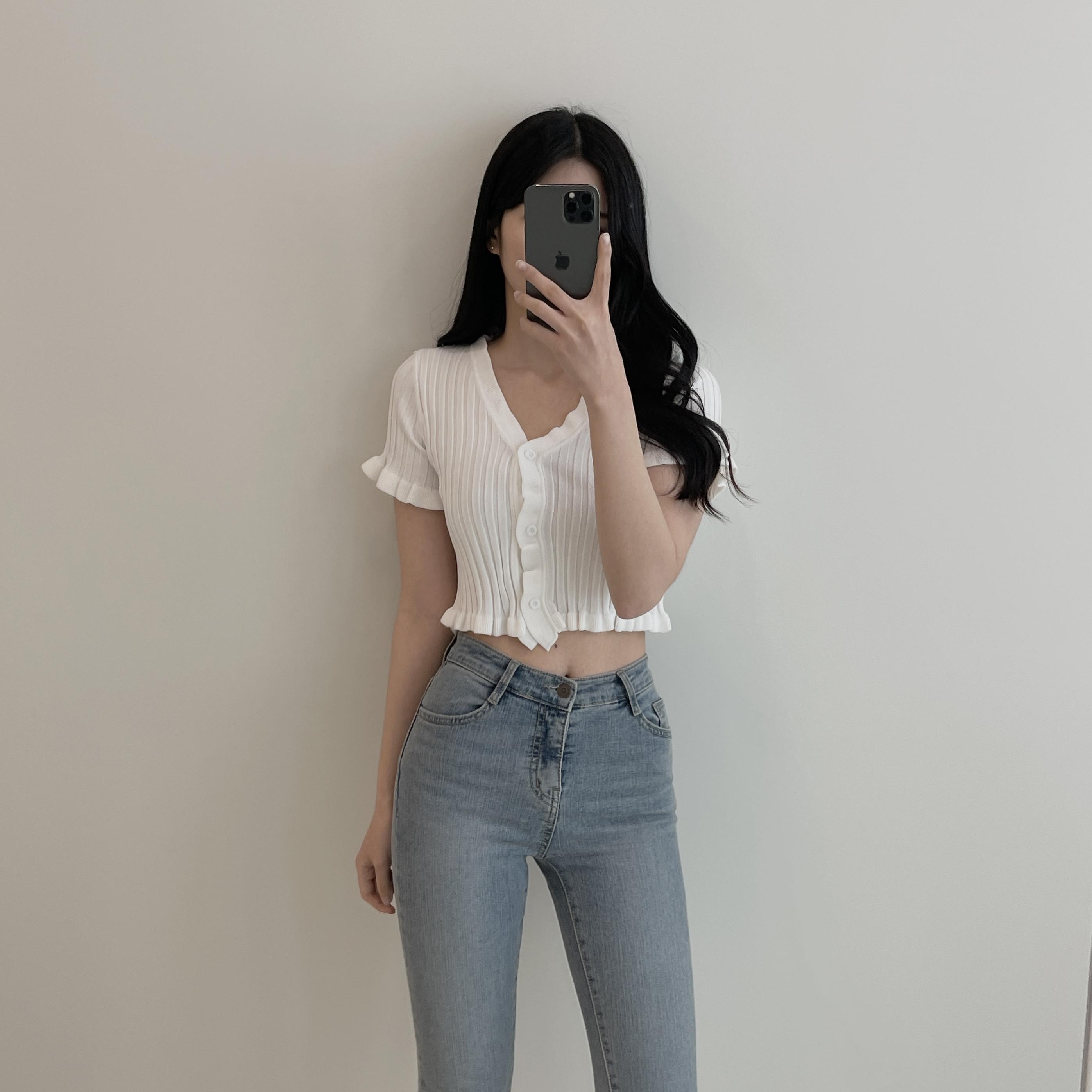Loving, ruffle V-Neck short-sleeved cropped cardigan