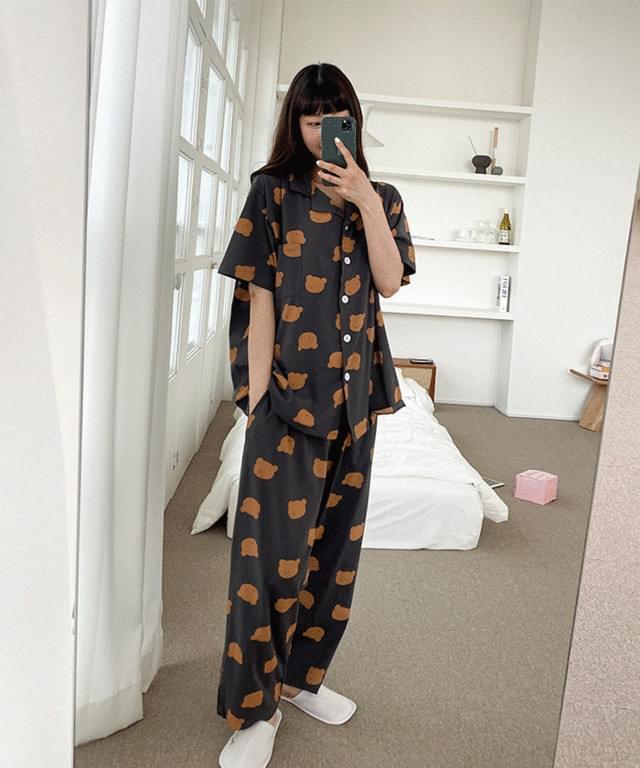 Big Size 66-120 Bears Collar Pajama Pants Set
