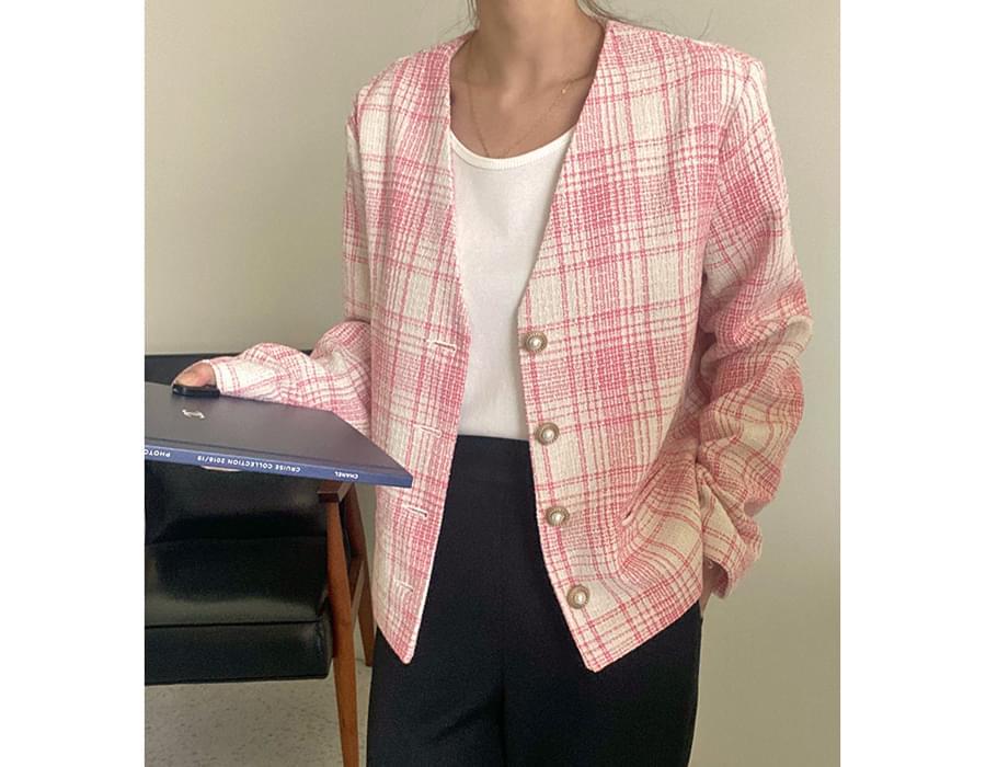 Opening tweed V-Neck jacket