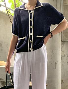 color matching pocket collar cardigan