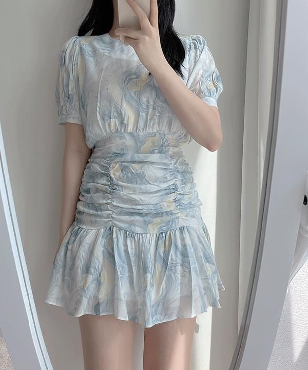Cheonga printing shirring Dress 2color