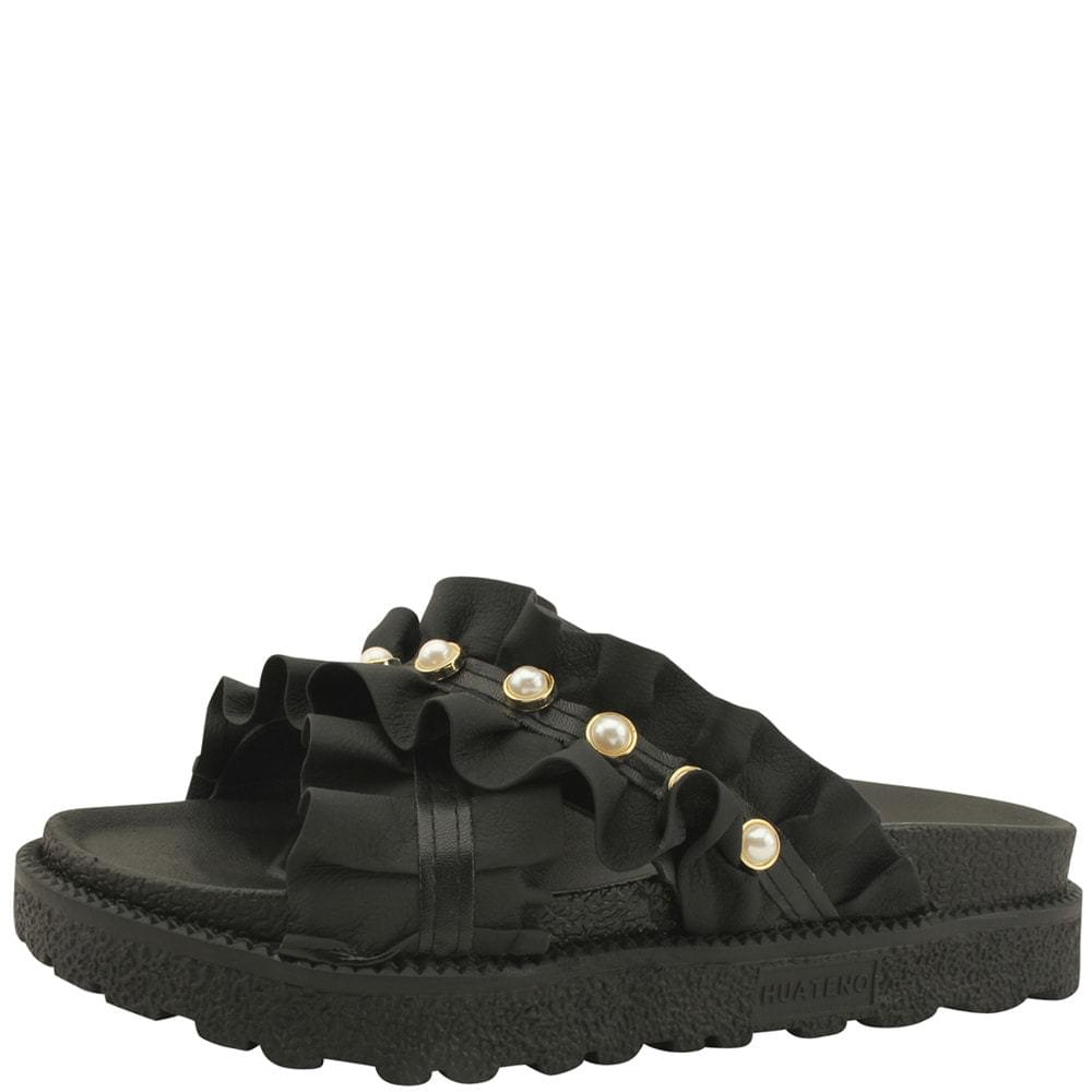 Shirring Pearl Strap Whole Heel Slippers Black