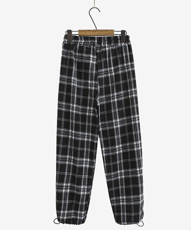 Big 26-38 Inch Two-Way String Check Jogger Pants