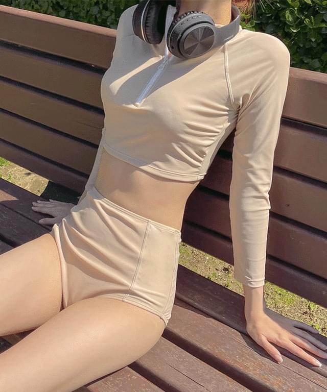 Jakuman zip-up rash guard bikini