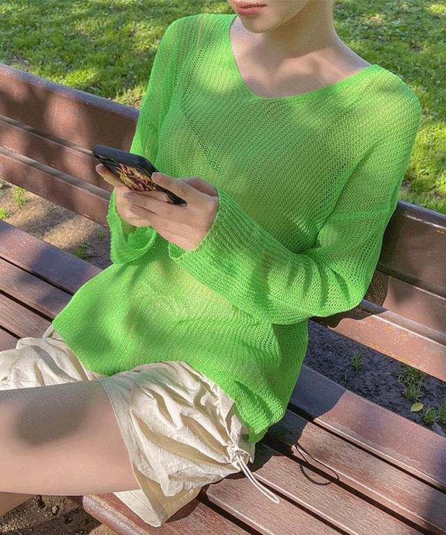 Beman V-Neck Summer See-through Knitwear
