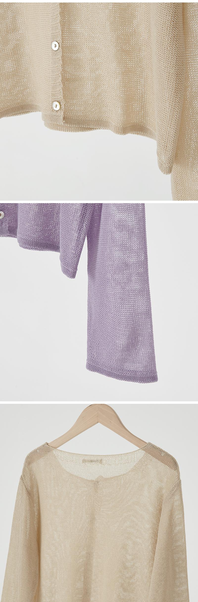 Round See-through Crop Knitwear Cardigan