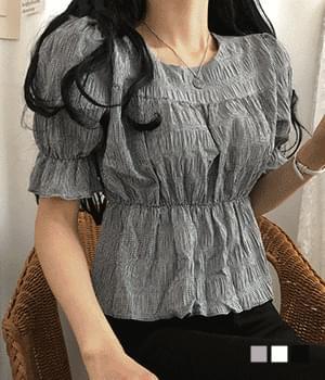 Ruri pleated puff short sleeve blouse