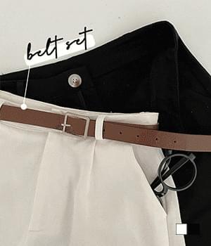 Square Belt Set Part 4 Pintuck Cotton Shorts