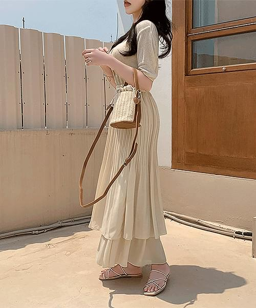 Cream Mellow Banding Pleated Cancan Long Skirt