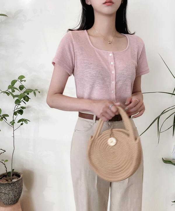 Herbal one-neck Ribbed cardigan