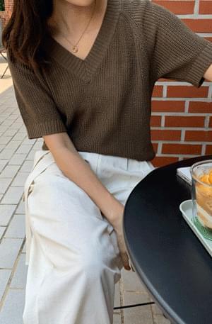 《Special Product》Summer Hachi Raglan V Neck Short Sleeve Knitwear