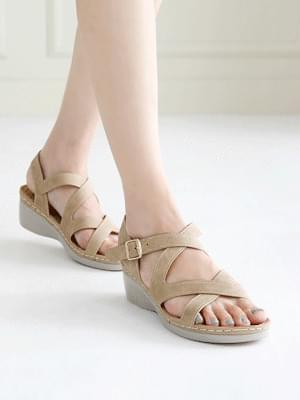 2X Lightweight Wedge Velcro Sandals 5cm