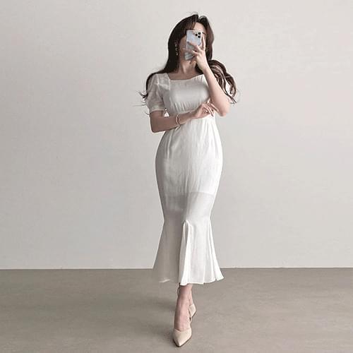 Straight Square Neck Short Sleeve Chiffon Mermaid Long Dress 3color