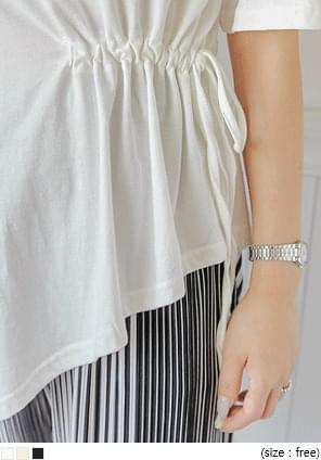 Asymmetrical Hem Drawstring T-Shirt