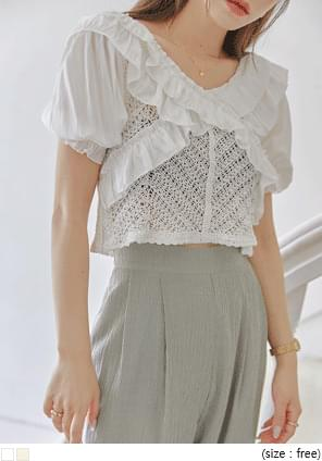 Frill Trim Crochet Cropped Blouse