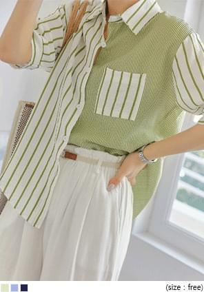 Unbalanced Stripe Loose Shirt