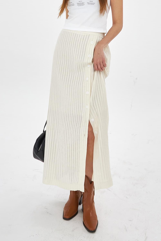 Stripe slit maxi Skirt